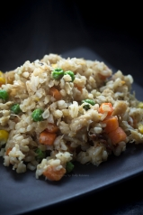 Miso fried rice with chicken flakes